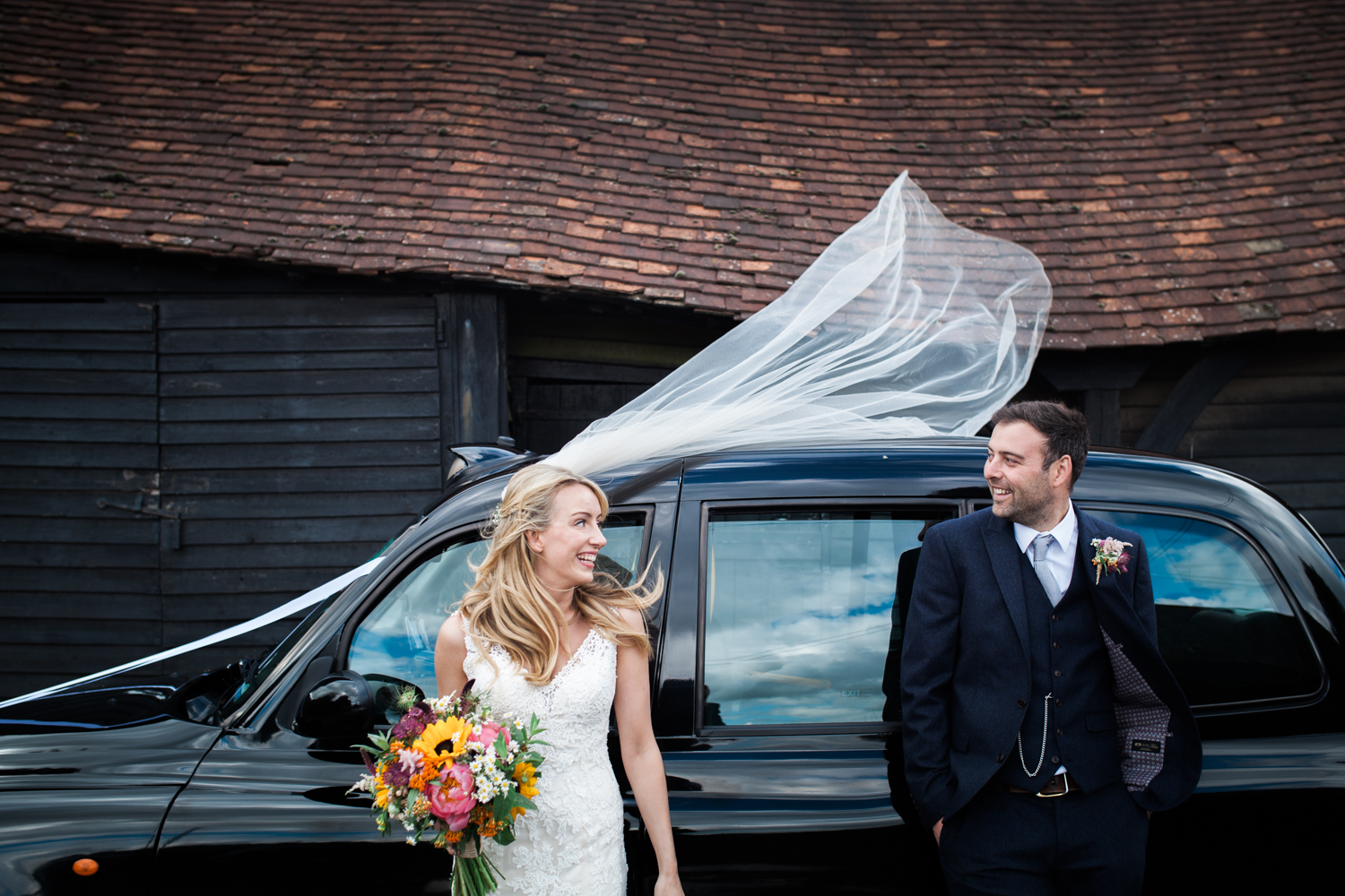 Bride and Groom - Black Cab wedding car, Buckinghamshire