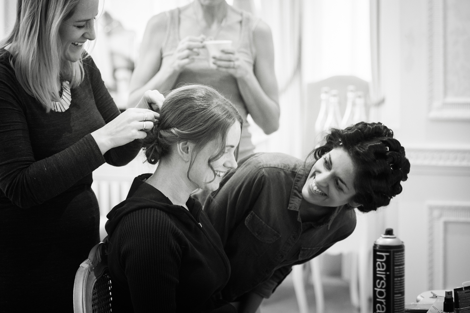 bridal prep - black and white