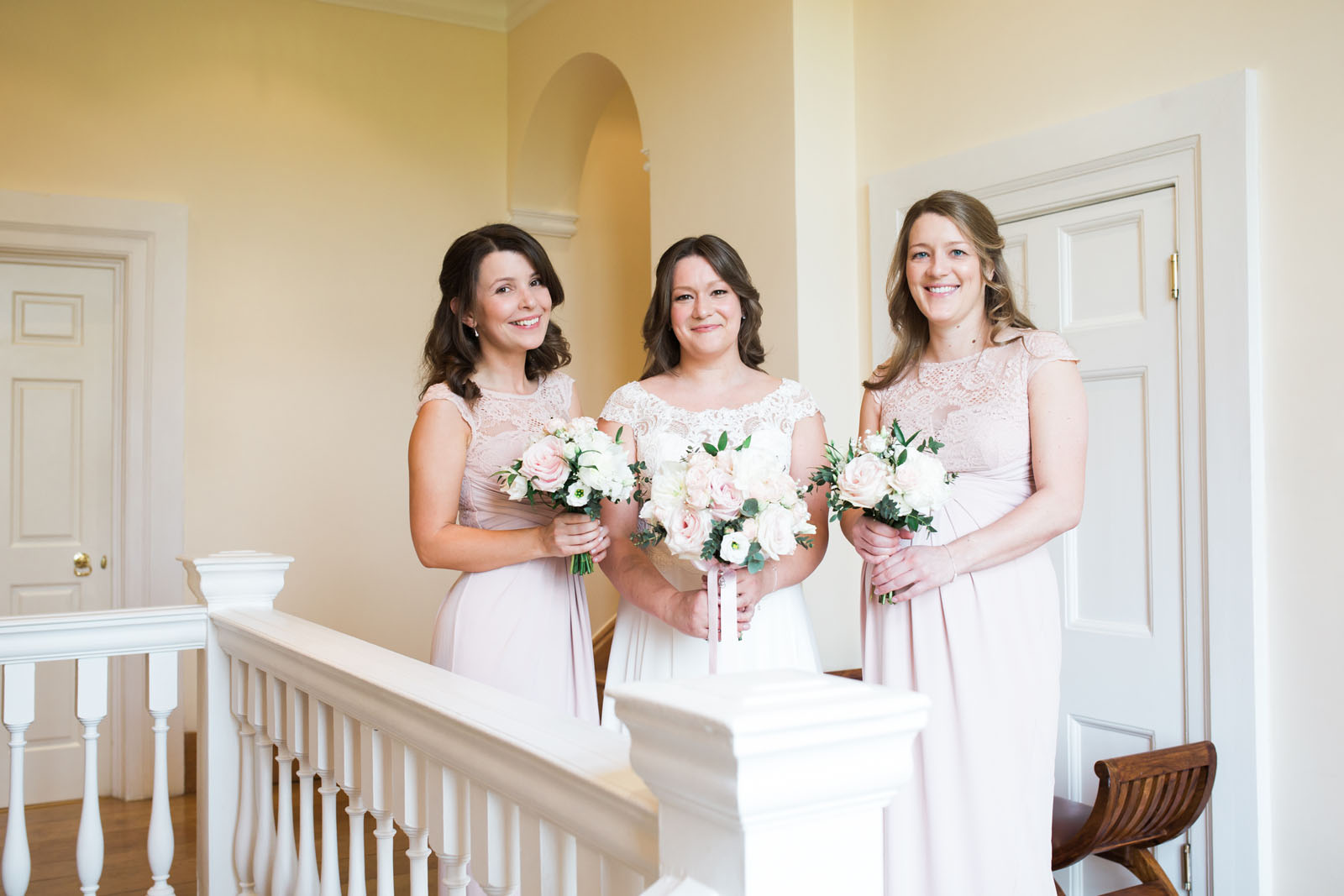 bride and bridesmaids - soft pink
