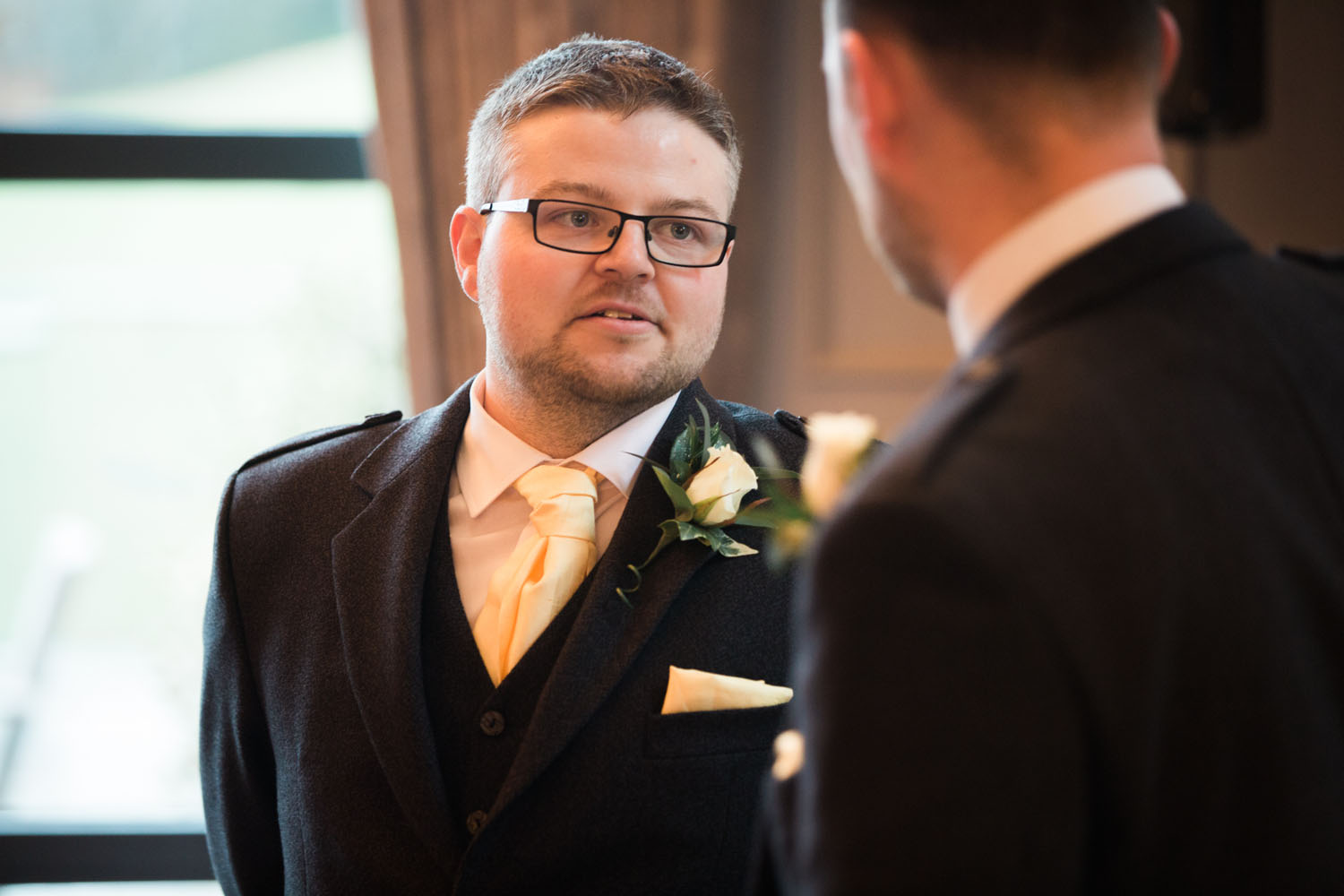 groom waiting - ceremony at devere latimer