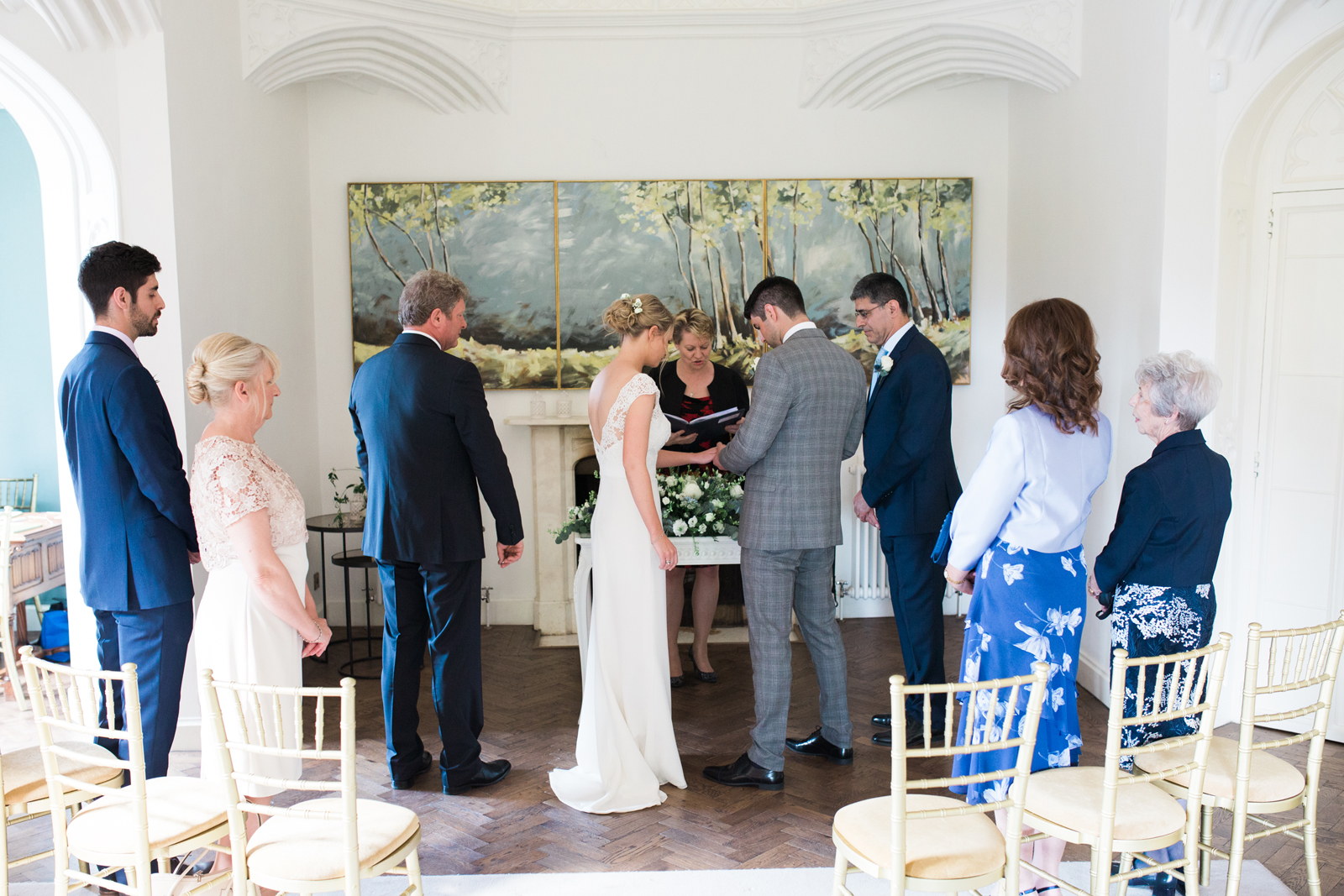 Exchanging rings at Cliveden House, Spring Cottage