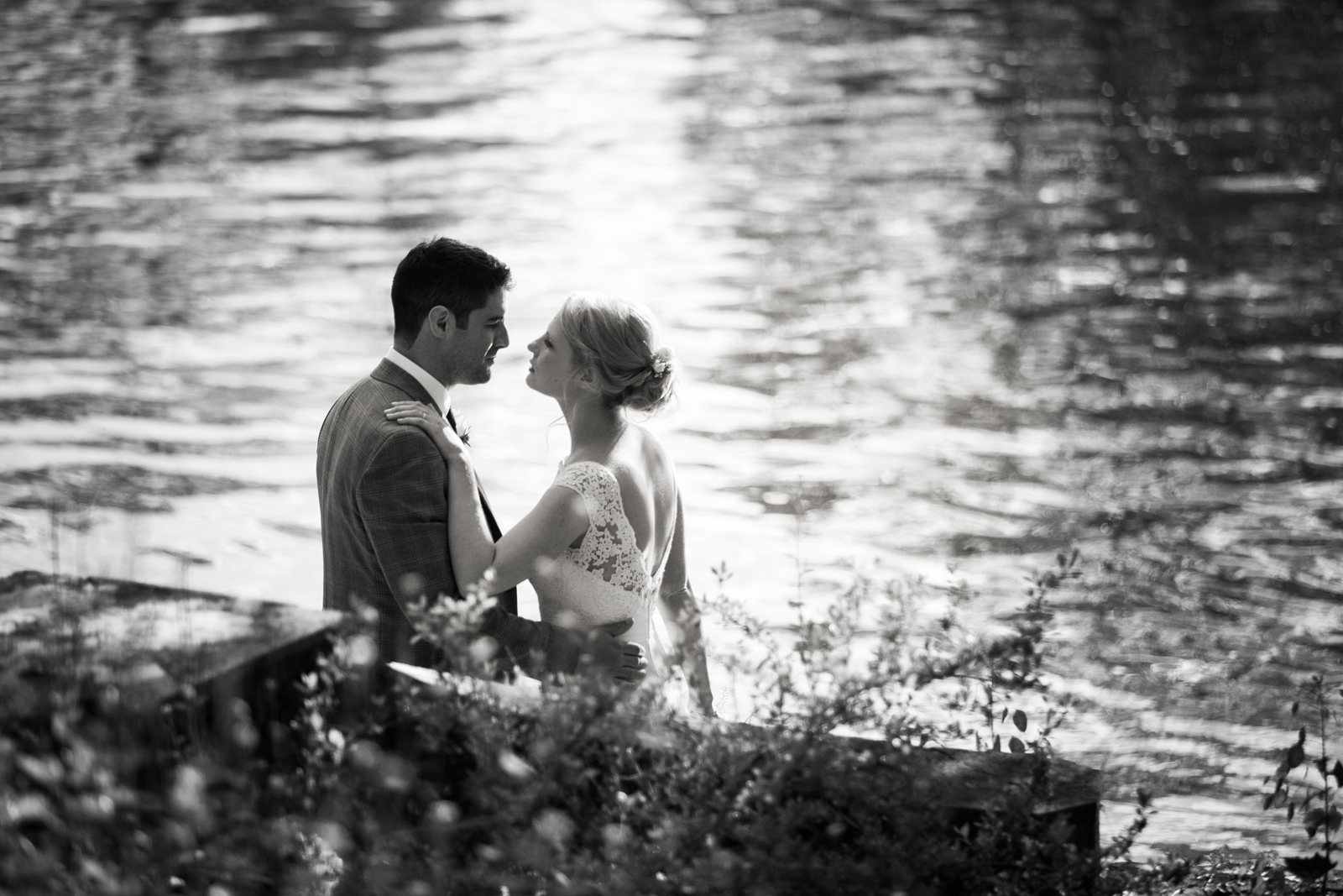 Intimate moment - Bride and Groom on the banks of the Thames, Cliveden