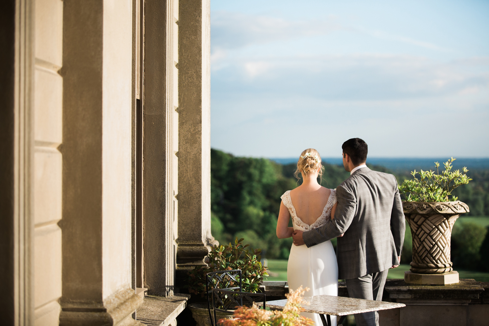 Bride and Groom - Cliveden House Wedding - terrace view