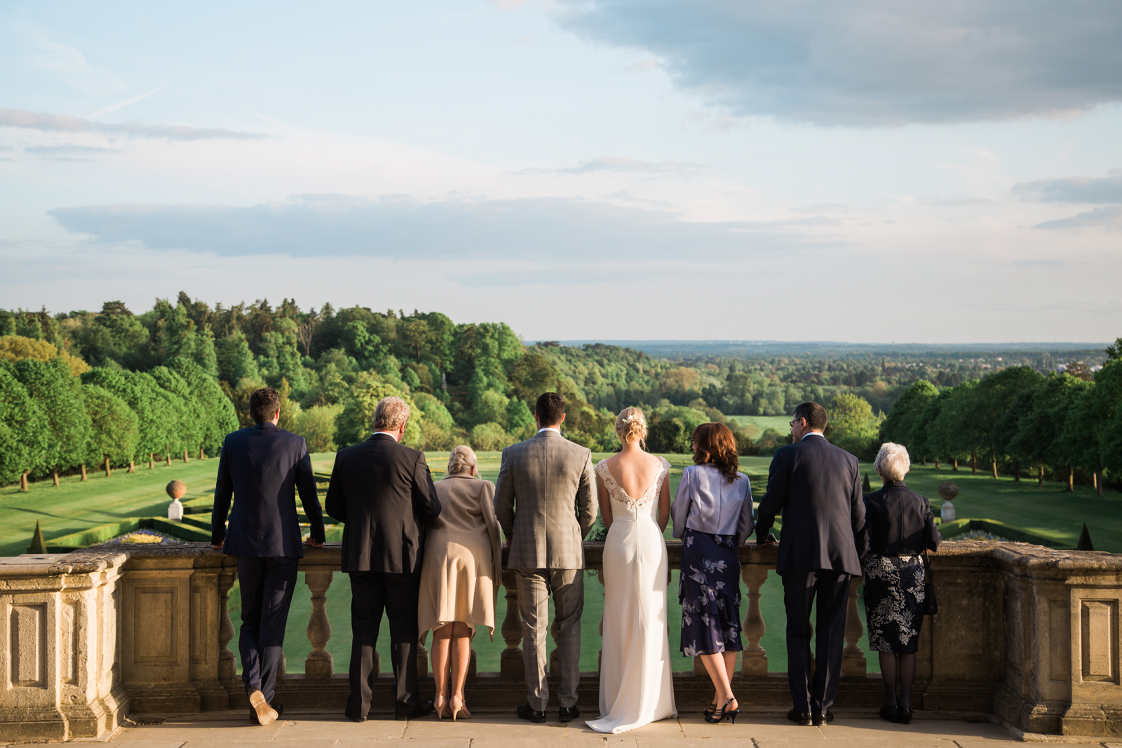 Wedding party enjoying the view at Cliveden House