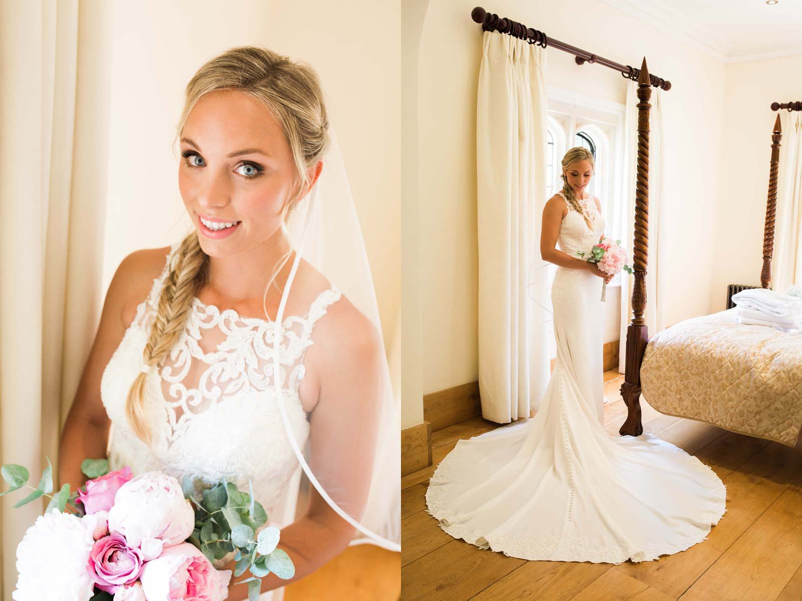Notley Abbey wedding in Buckinghamshire full length photo of the bride