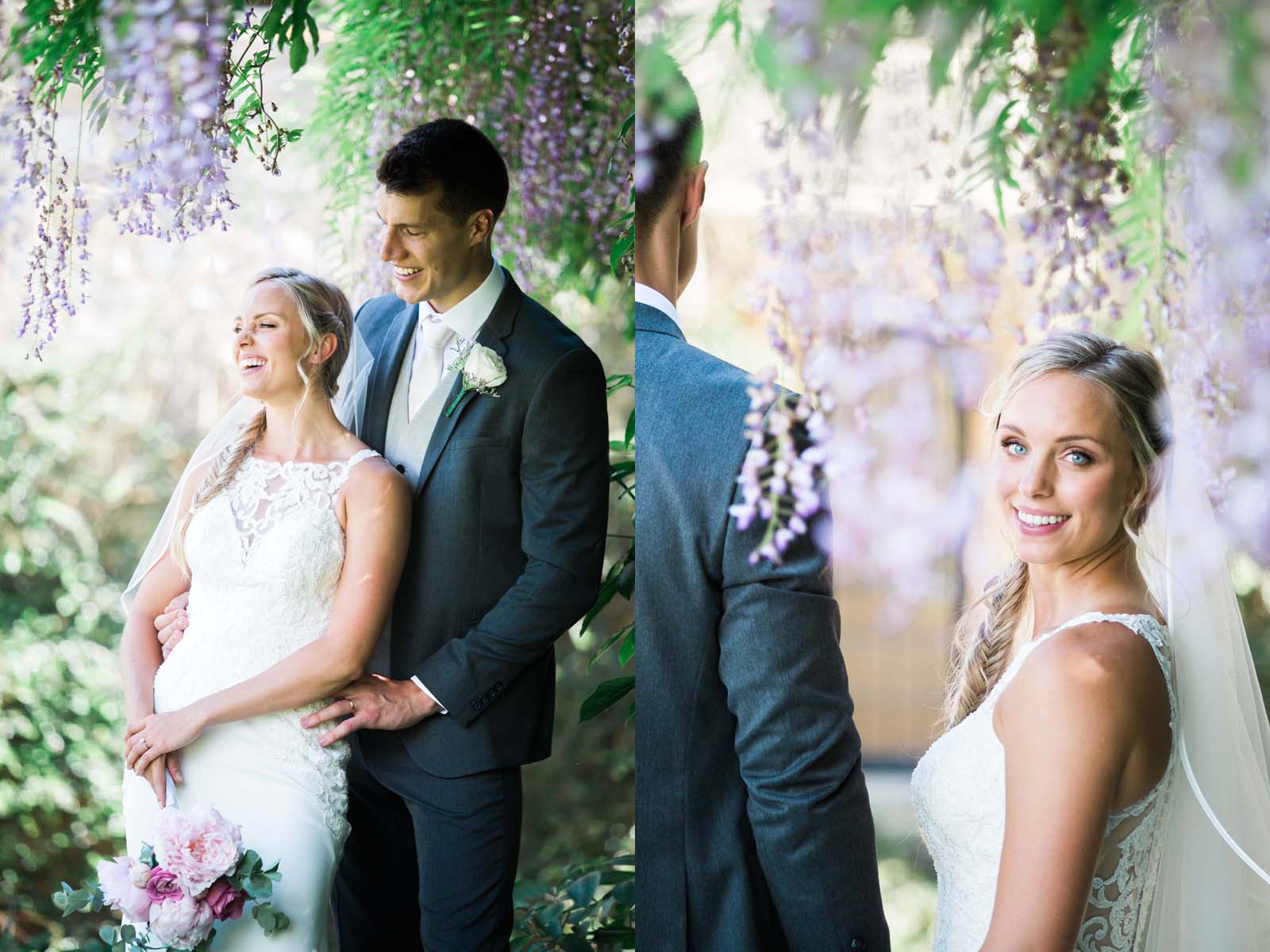 Notley Abbey Wedding Buckinghamshire Bride and Groom Wisteria