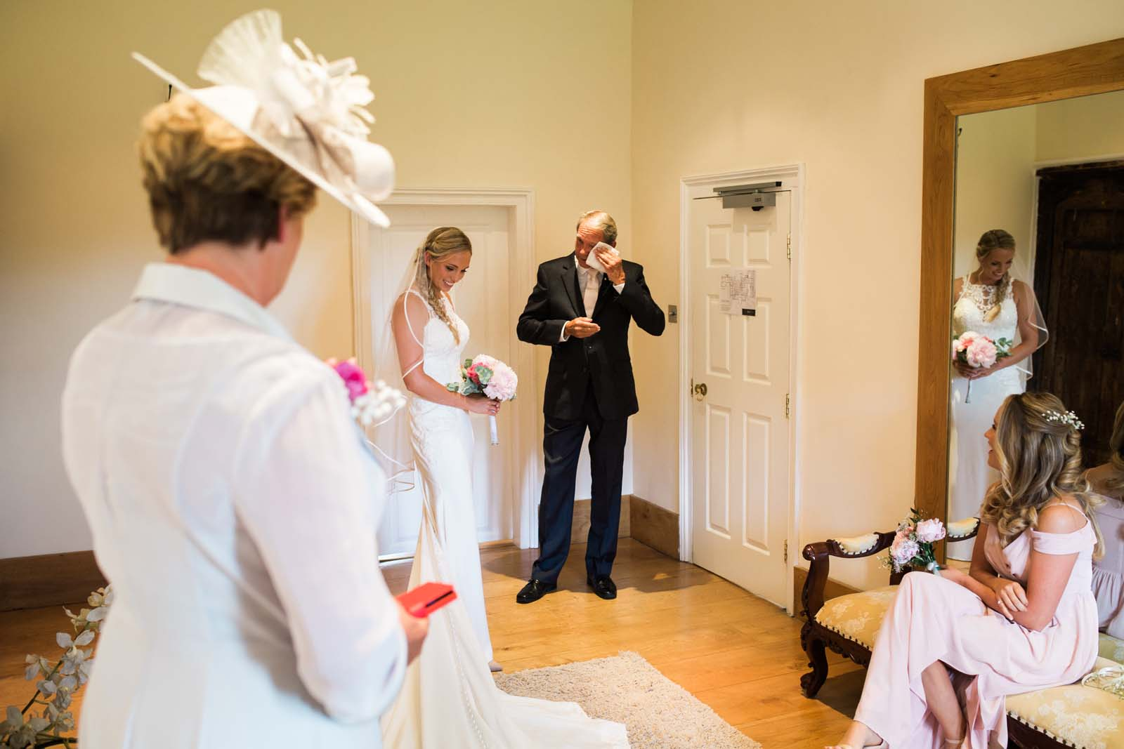 Notley Abbey wedding in Buckinghamshire Father of the Bride getting emotional