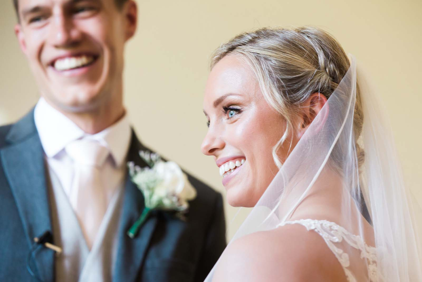 Notley Abbey wedding in Buckinghamshire up close during the ceremony
