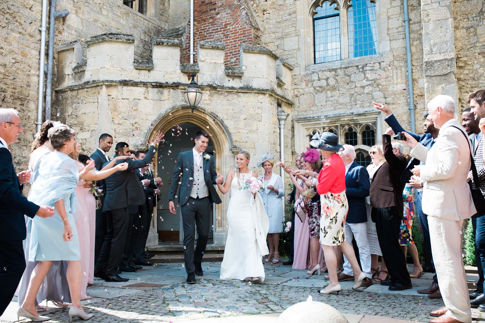 Notley Abbey wedding in Buckinghamshire - confetti shot after the ceremony