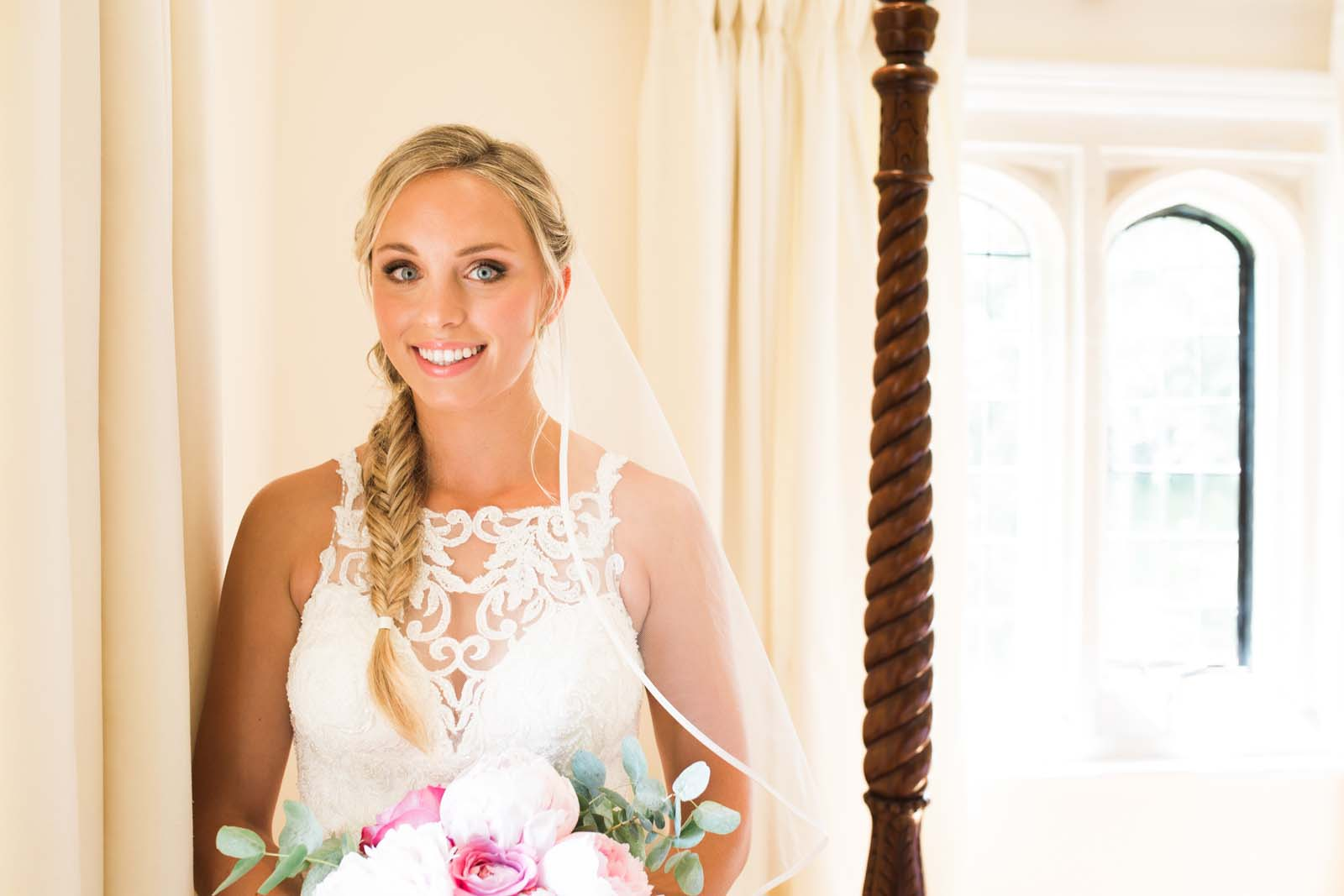 Notley Abbey wedding in Buckinghamshire Bride portrait