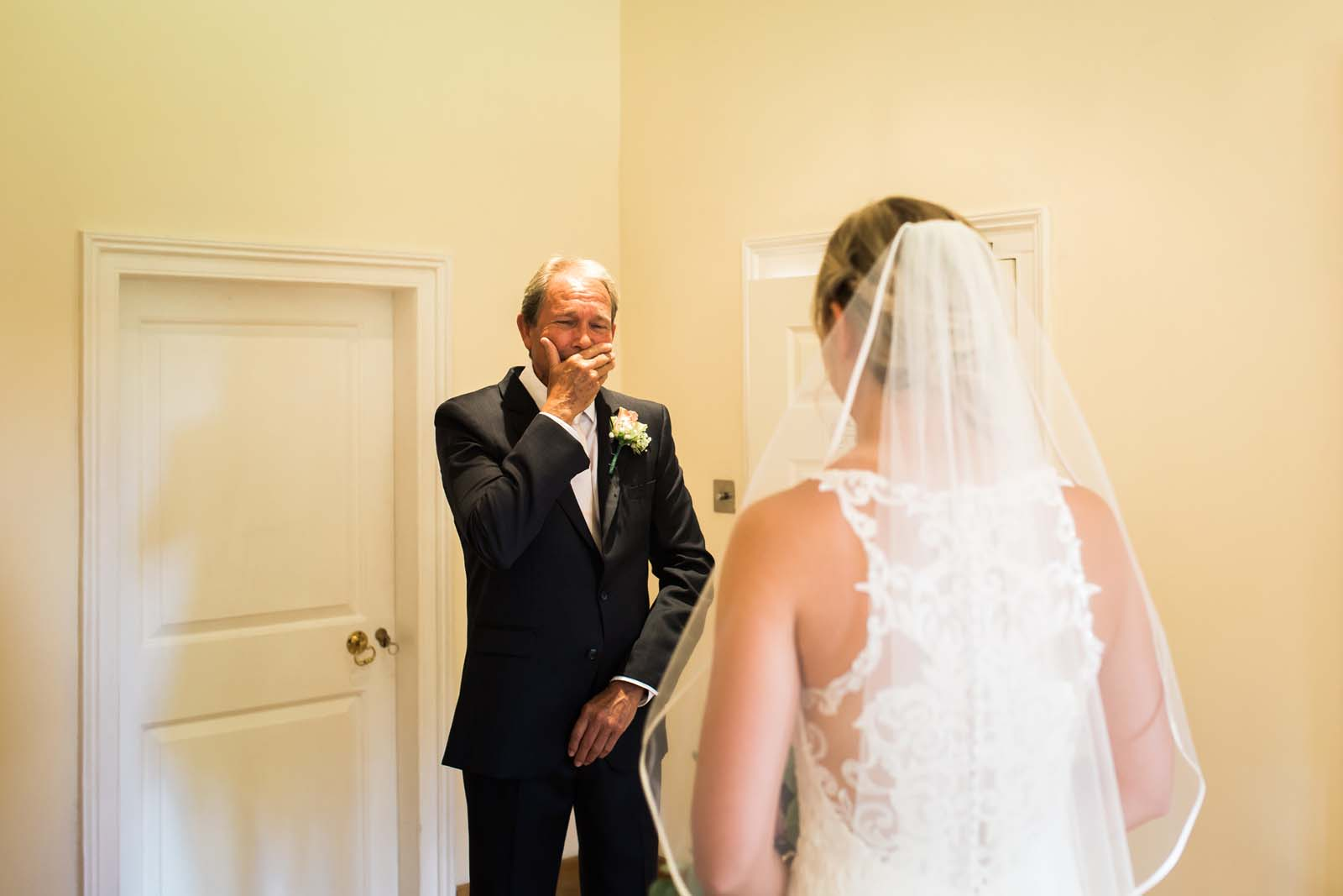 Notley Abbey wedding in Buckinghamshire Father of the Bride sees her for the first time