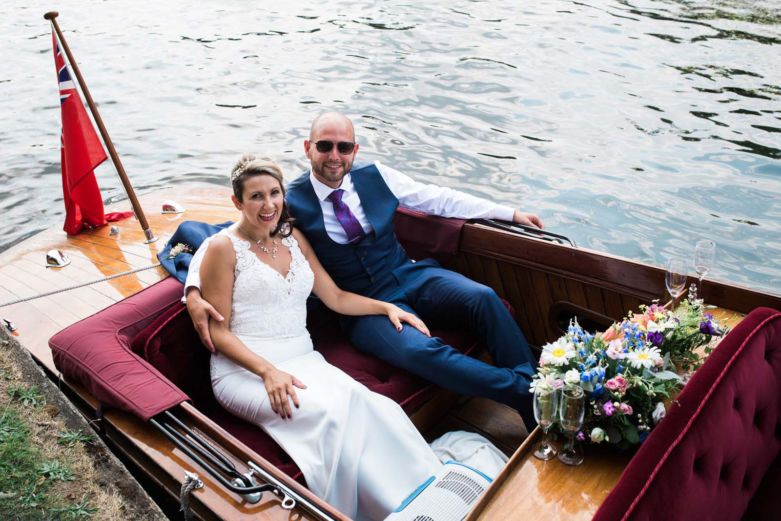 Henley on Thames Wedding Remenham Hall Bride and Groom Boat