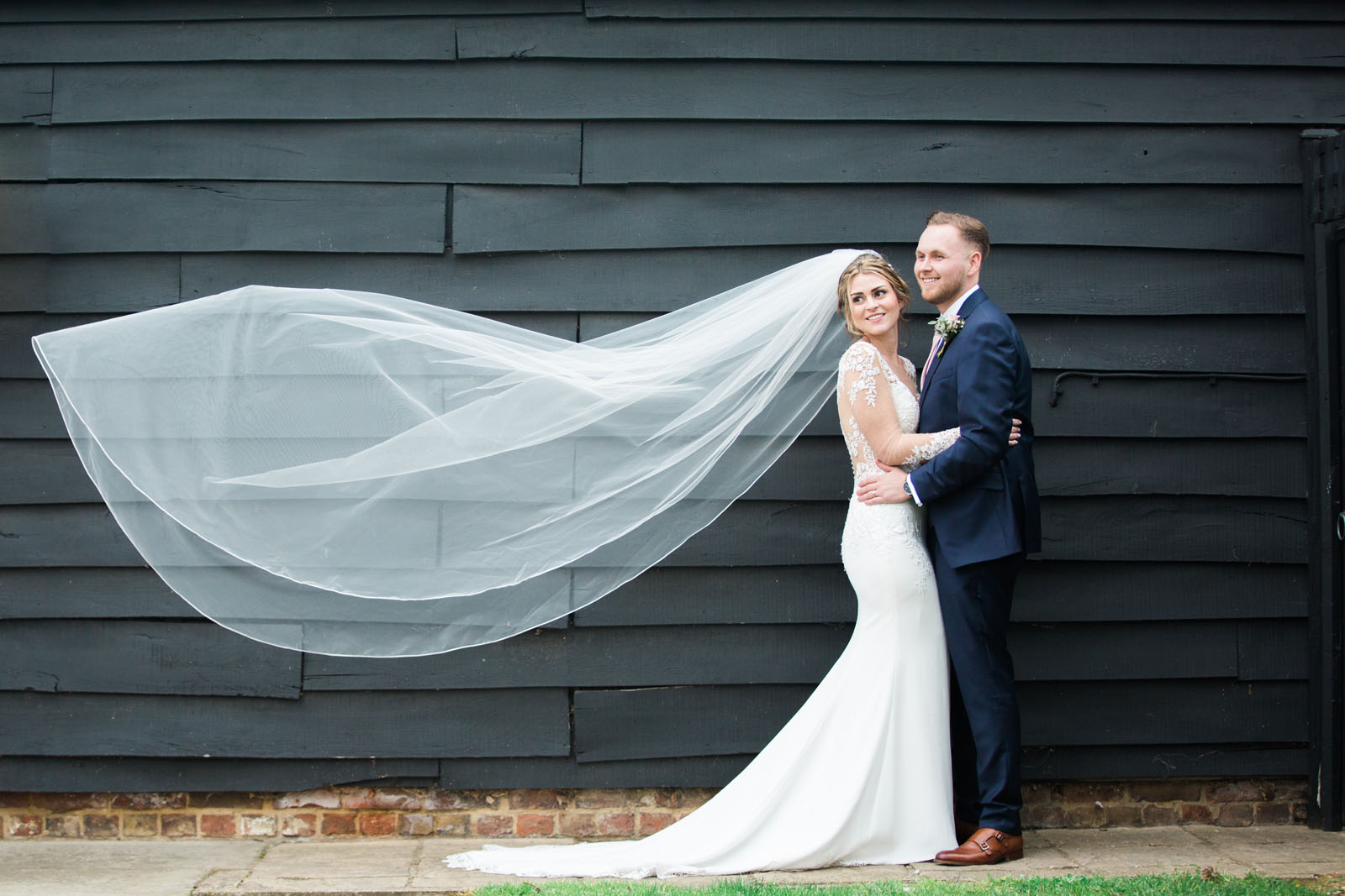 Wedding photo of happy couple at Tudor Barn - wedding photography